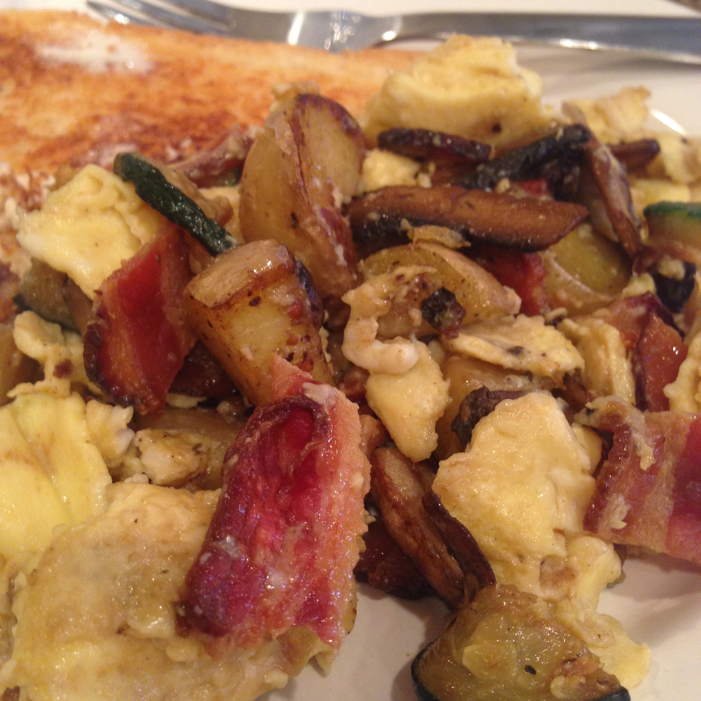 Bacon, Zucchini, Mushroom and Potato Scramble