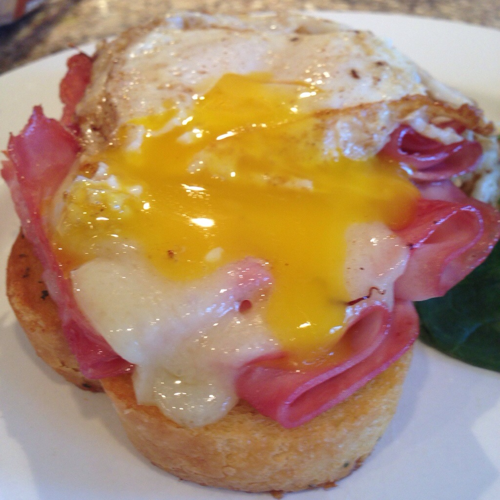 Ham and Cheese Melt with Fried Eggs