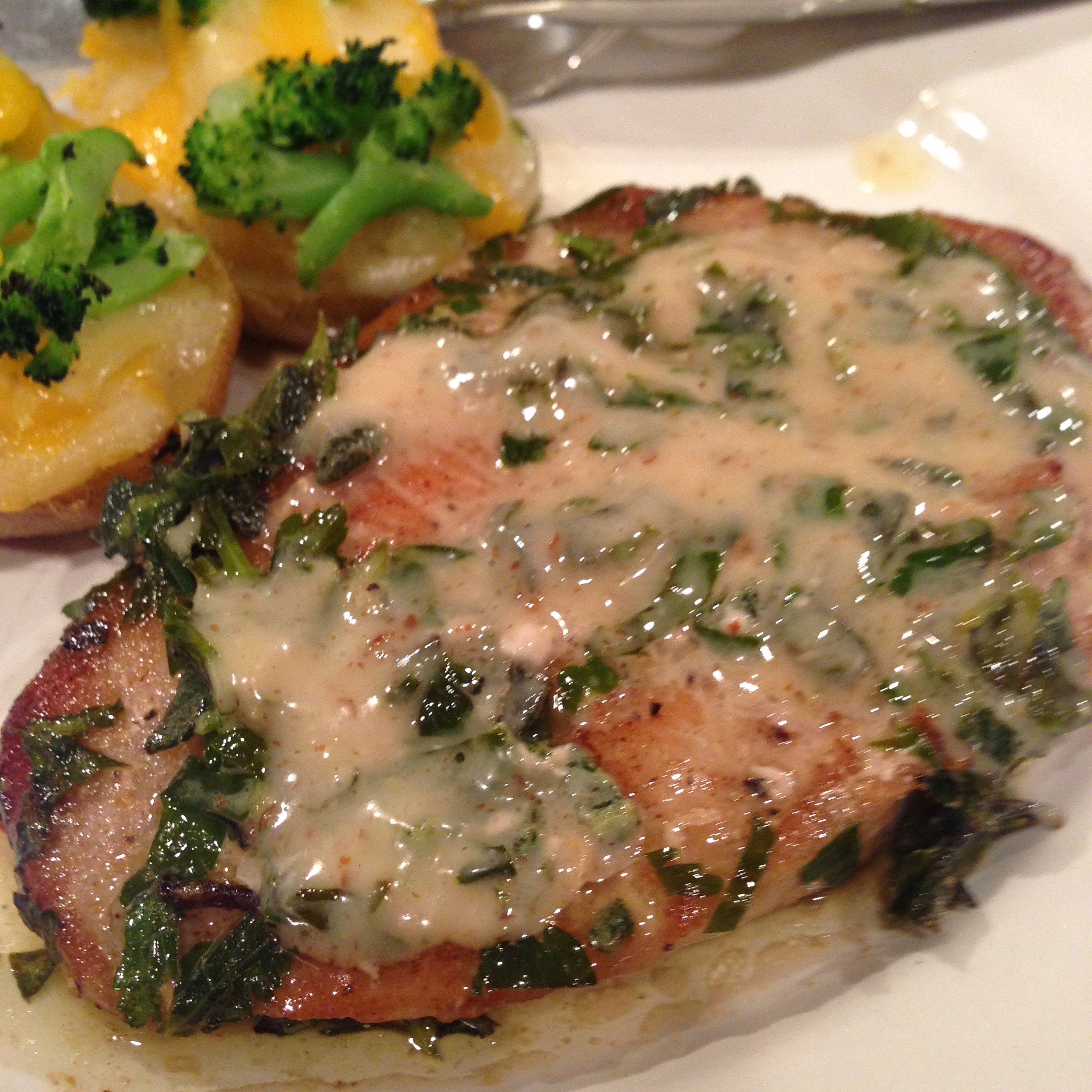 Pork with a Honey Mustard Herb Sauce