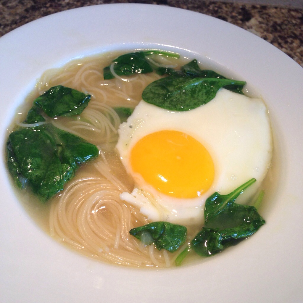 Chicken Noodle Soup with and Egg