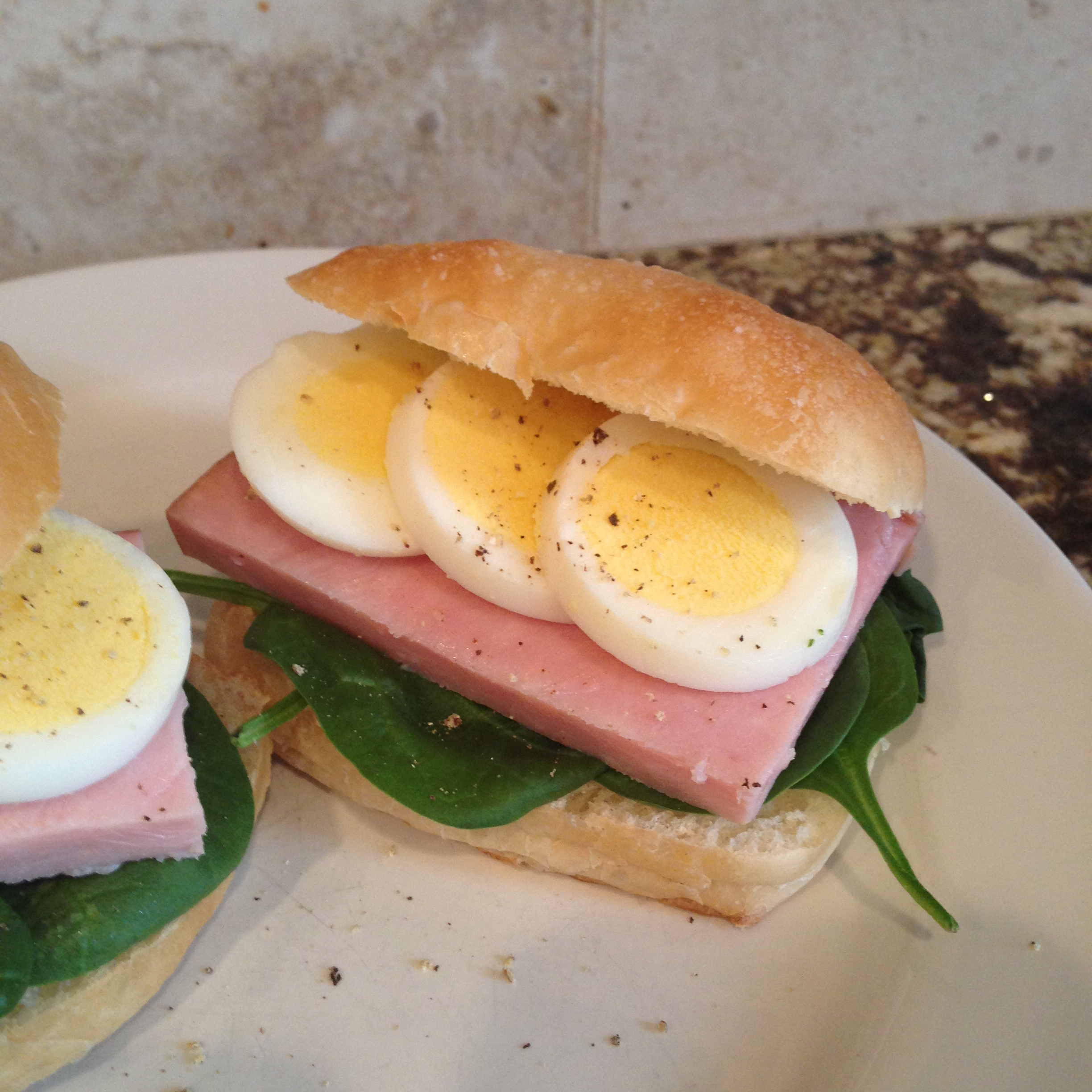 Ham and Hard Boiled Egg Sandwich