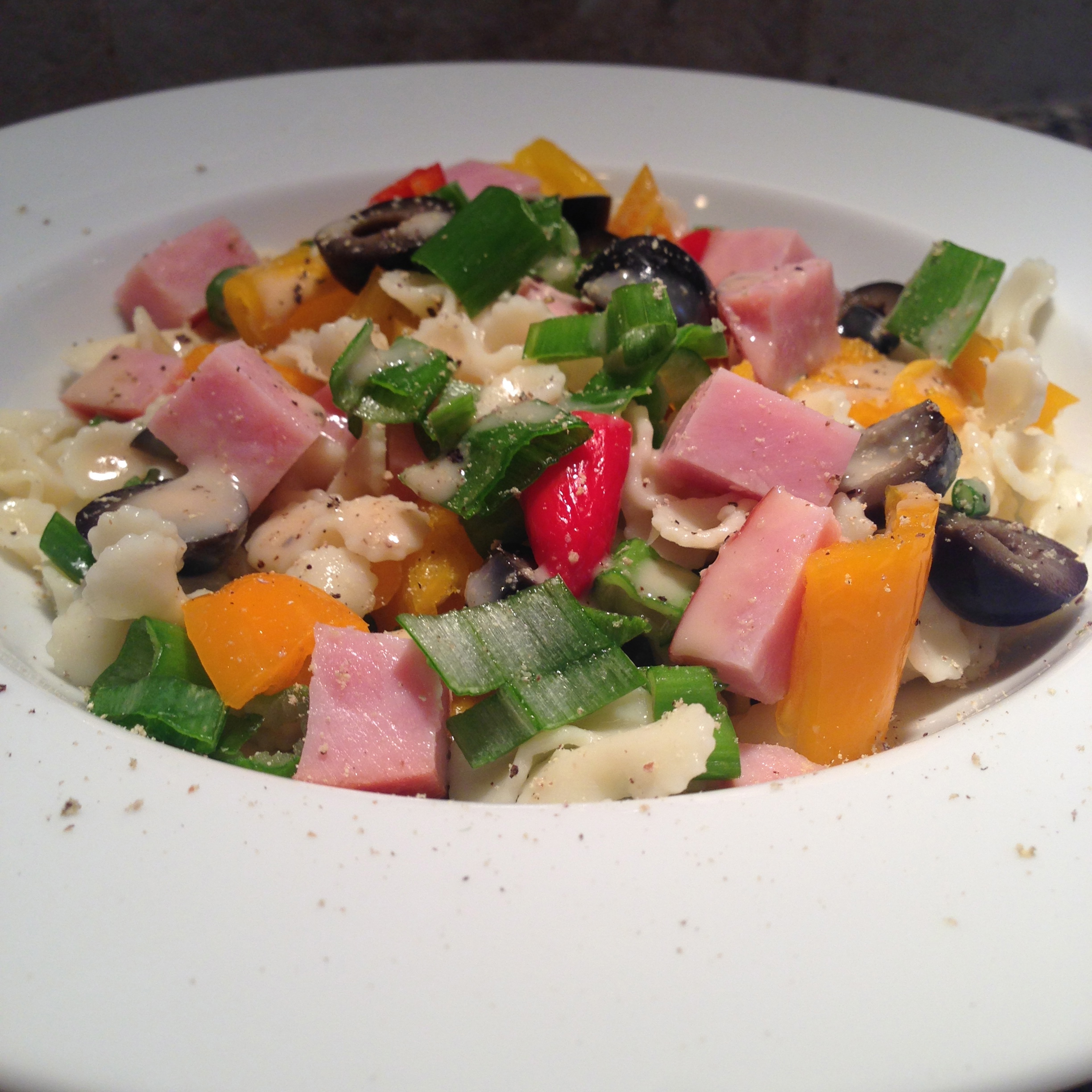 Ham, Bell Peppers, Olives, and Green Onion Pasta Salad
