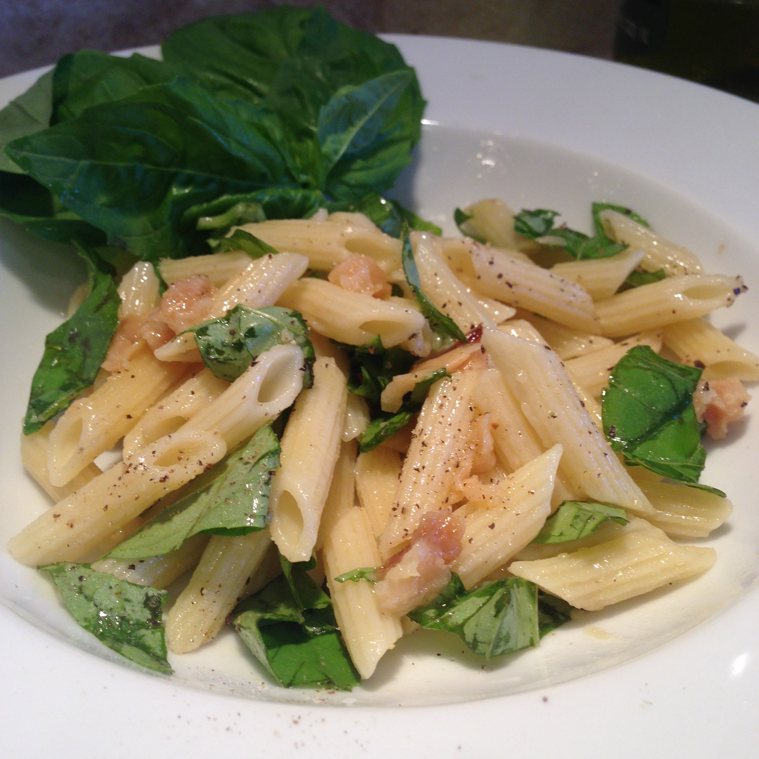 Mini Penne Pasta with Basil and Roasted Garlic