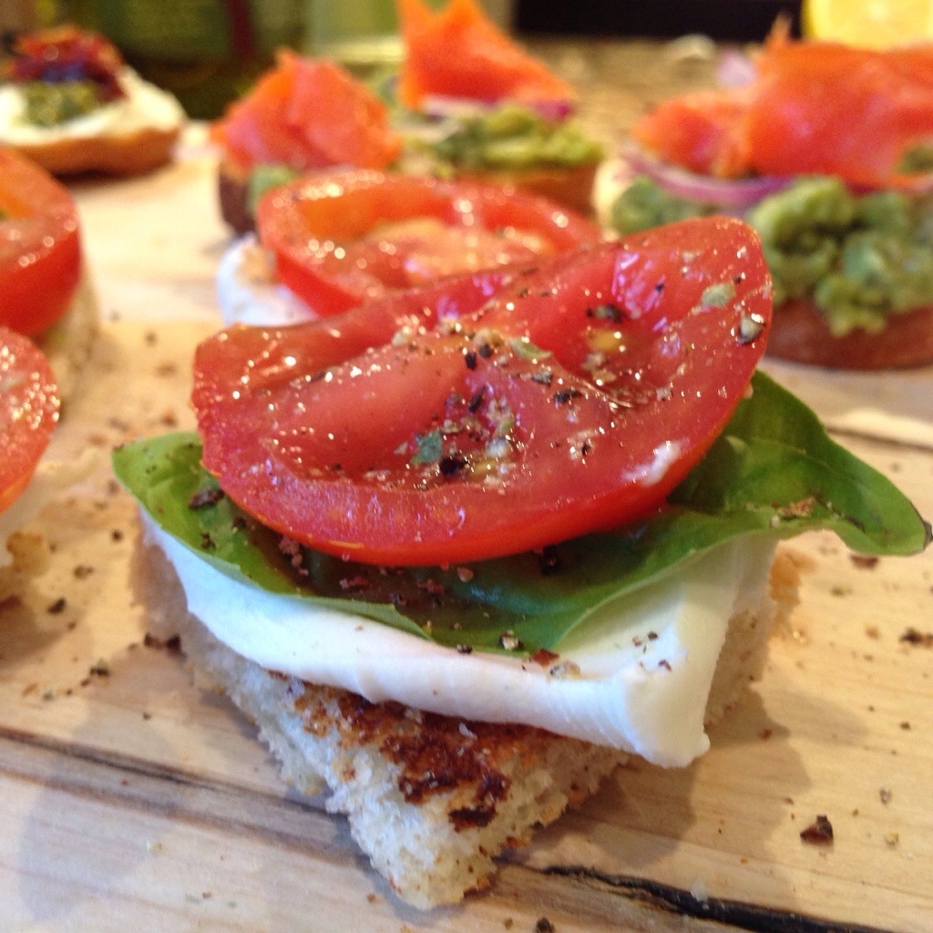 Mozzarella, Basil and Tomato Crostini