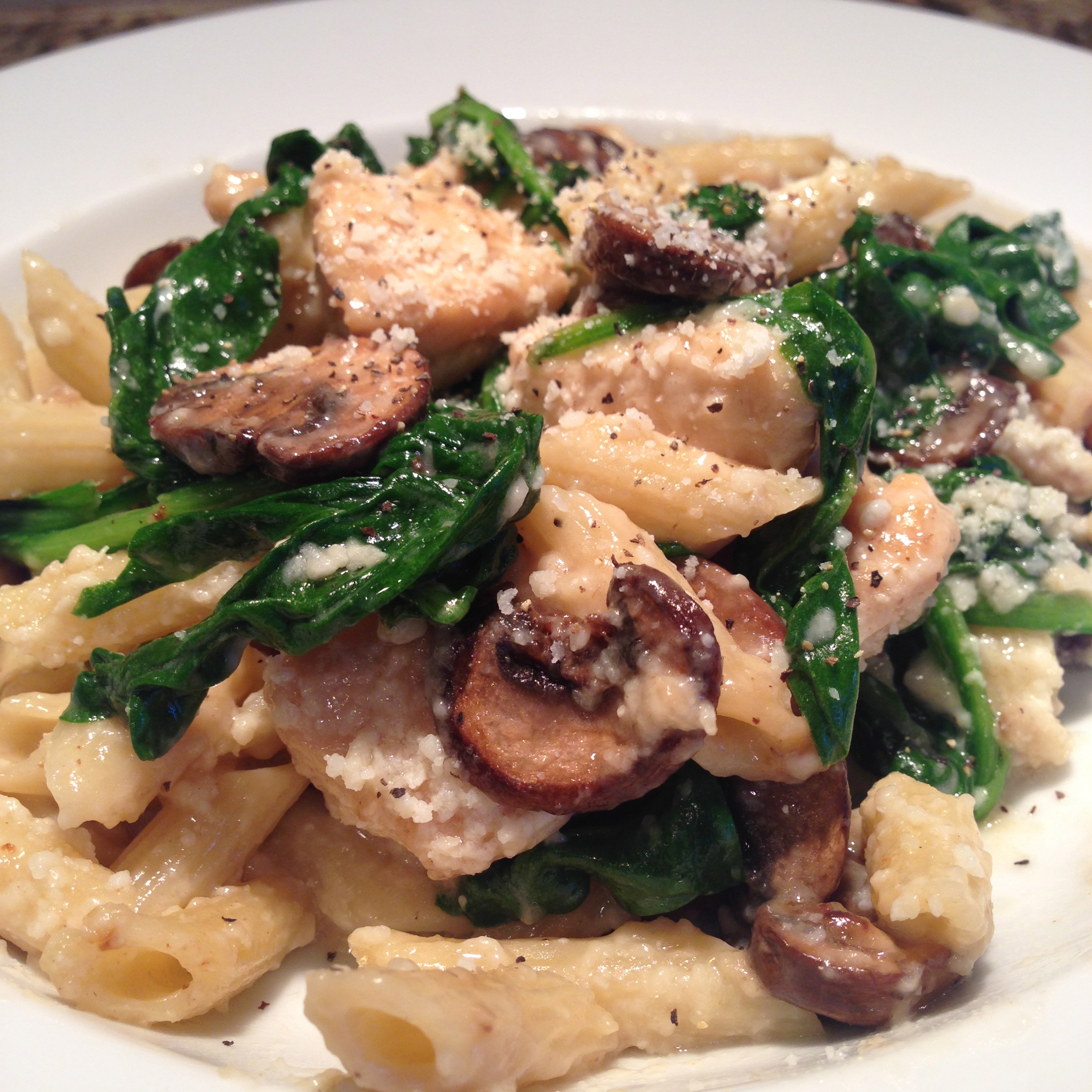 Mushroom, Spinach, and Chicken Pasta Dinner