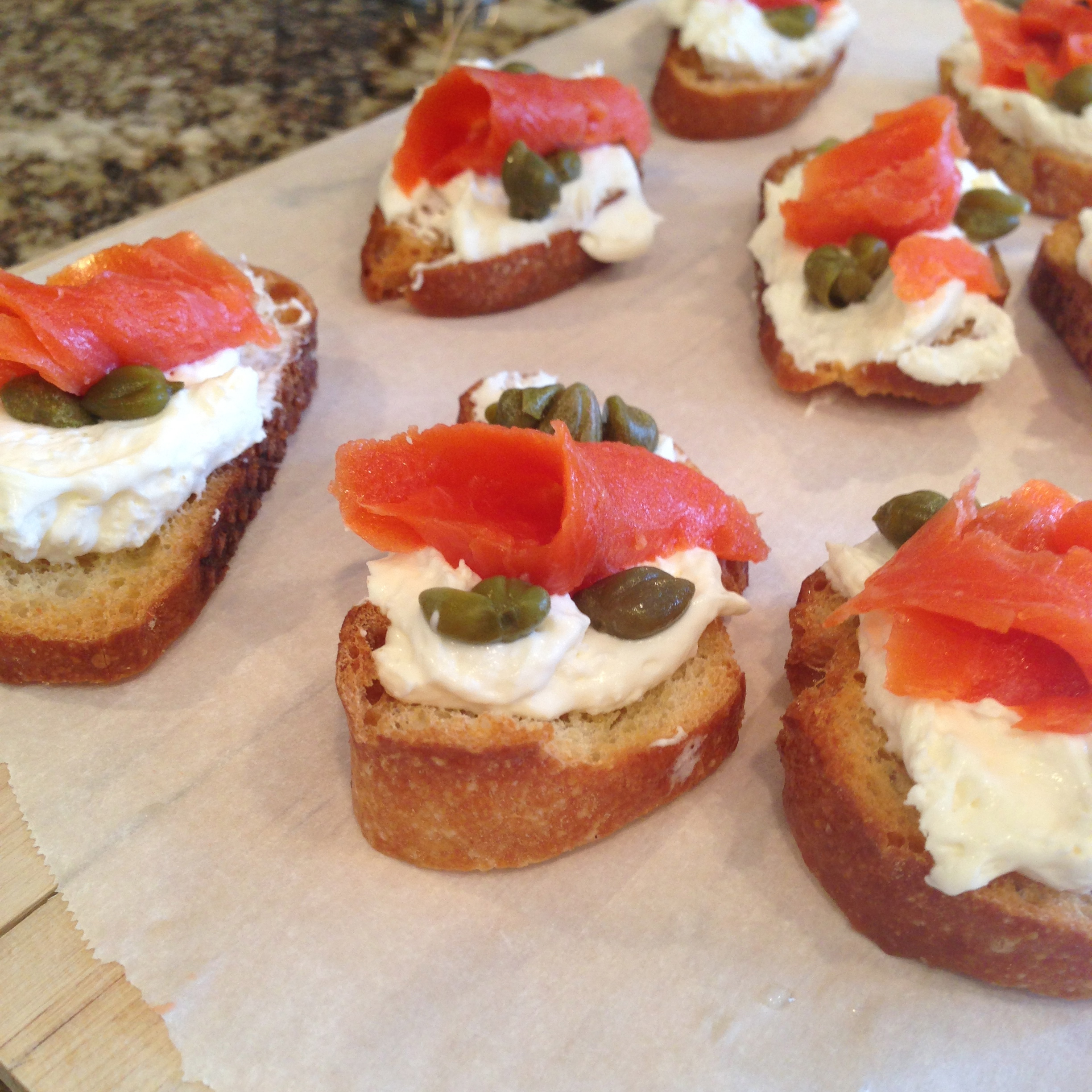 Smoked Salmon with Goat Cheese and Caper Crostini