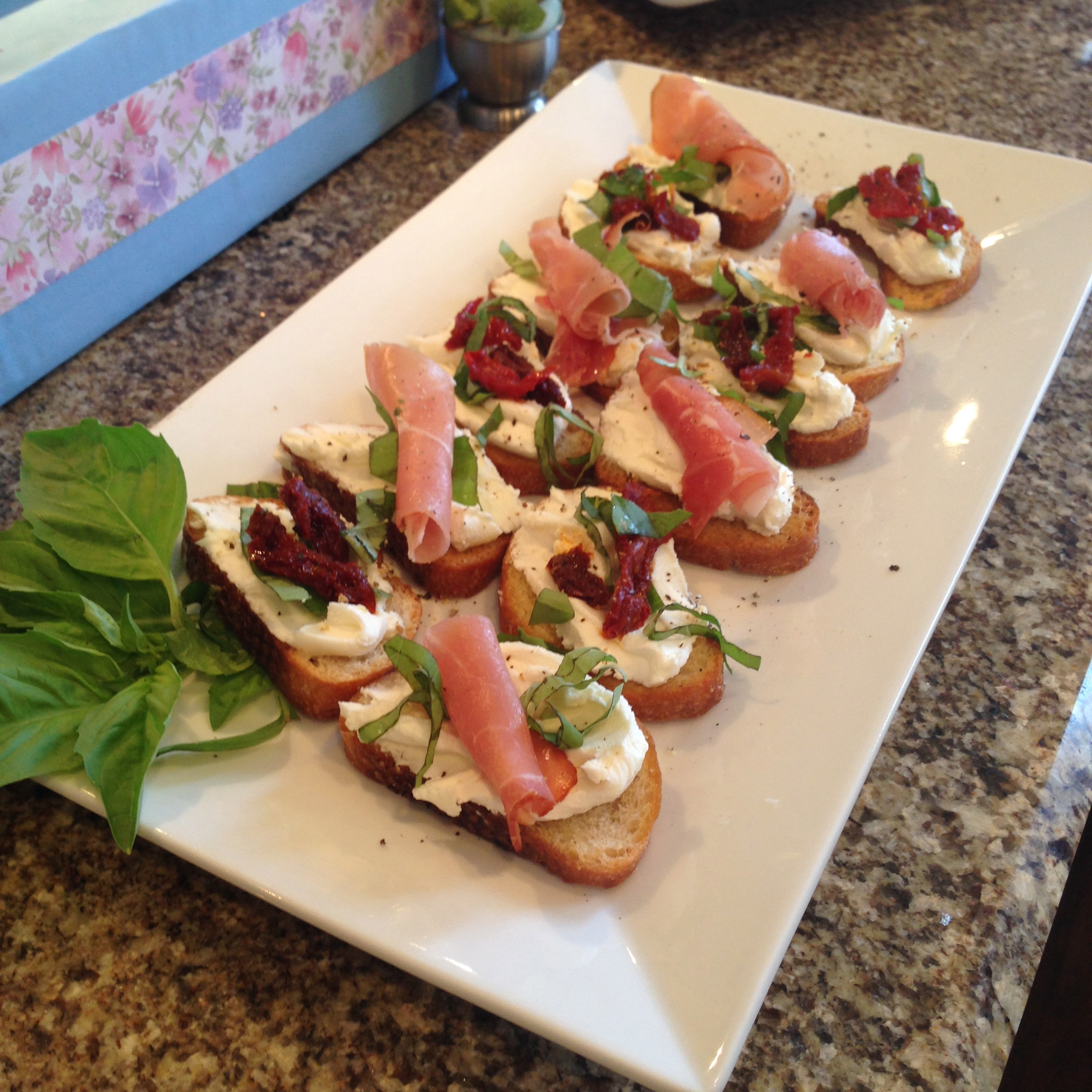 Prosciutto and Goat Cheese Crostini
