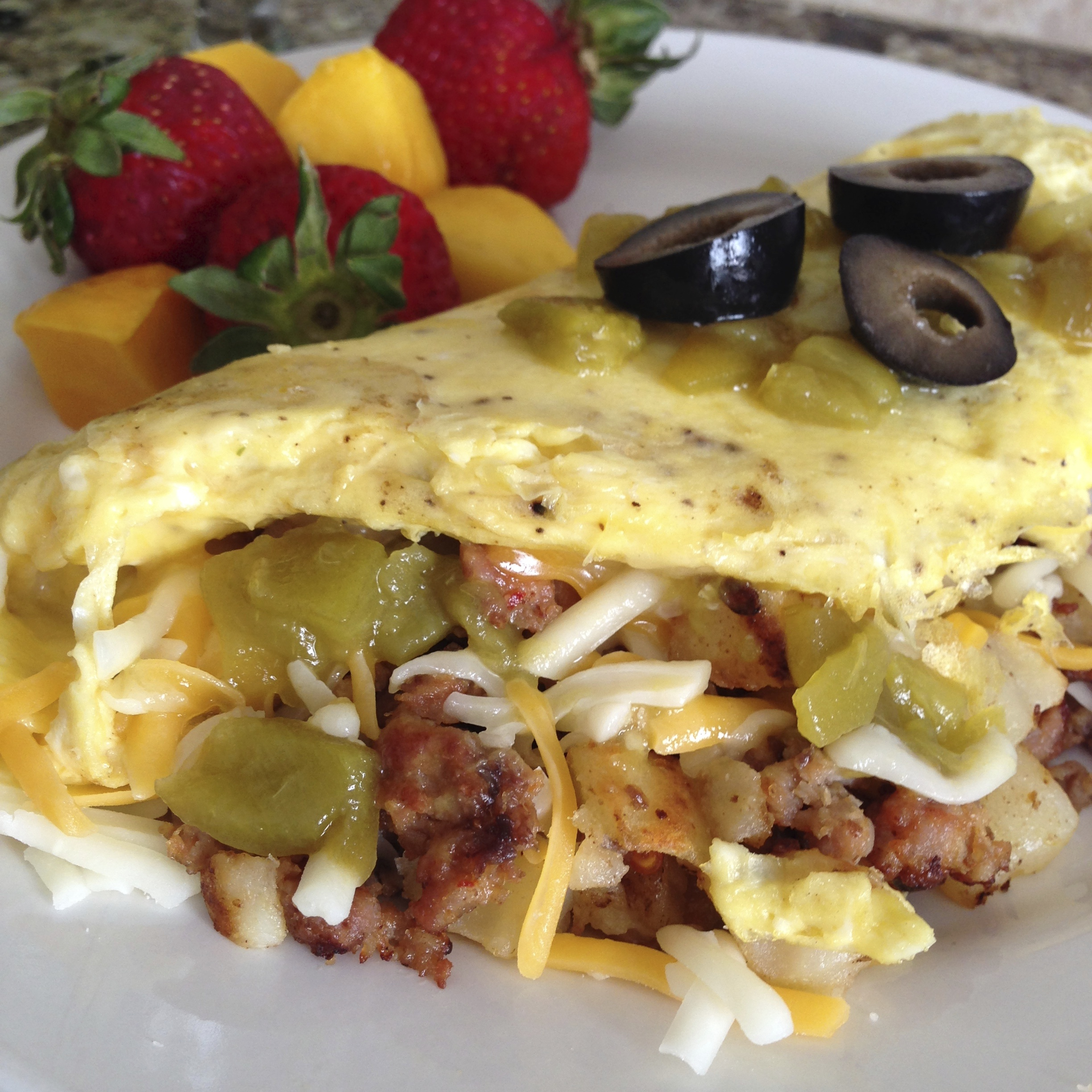 Sausage and Potato Omelet with Green Chili