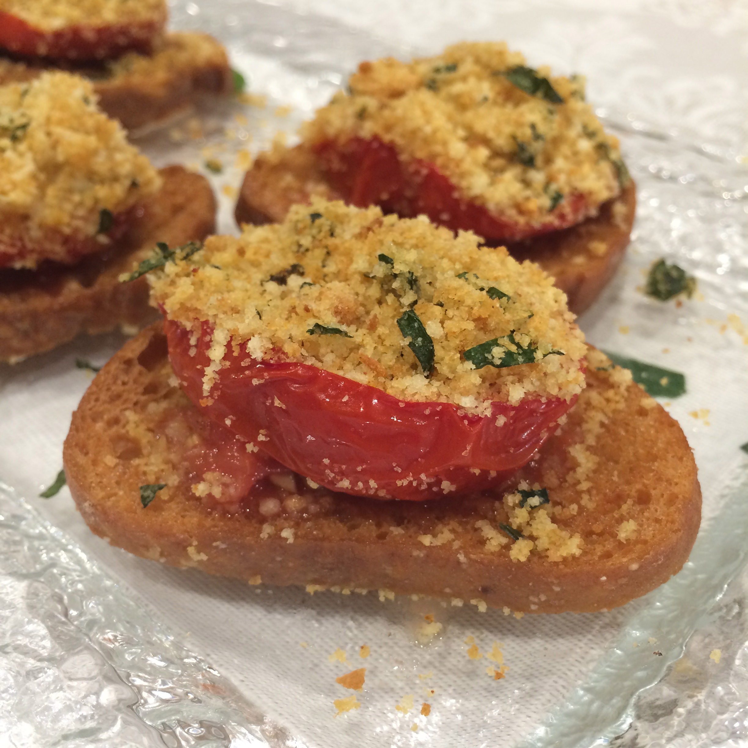 Baked Stuffed Tomato Crostini