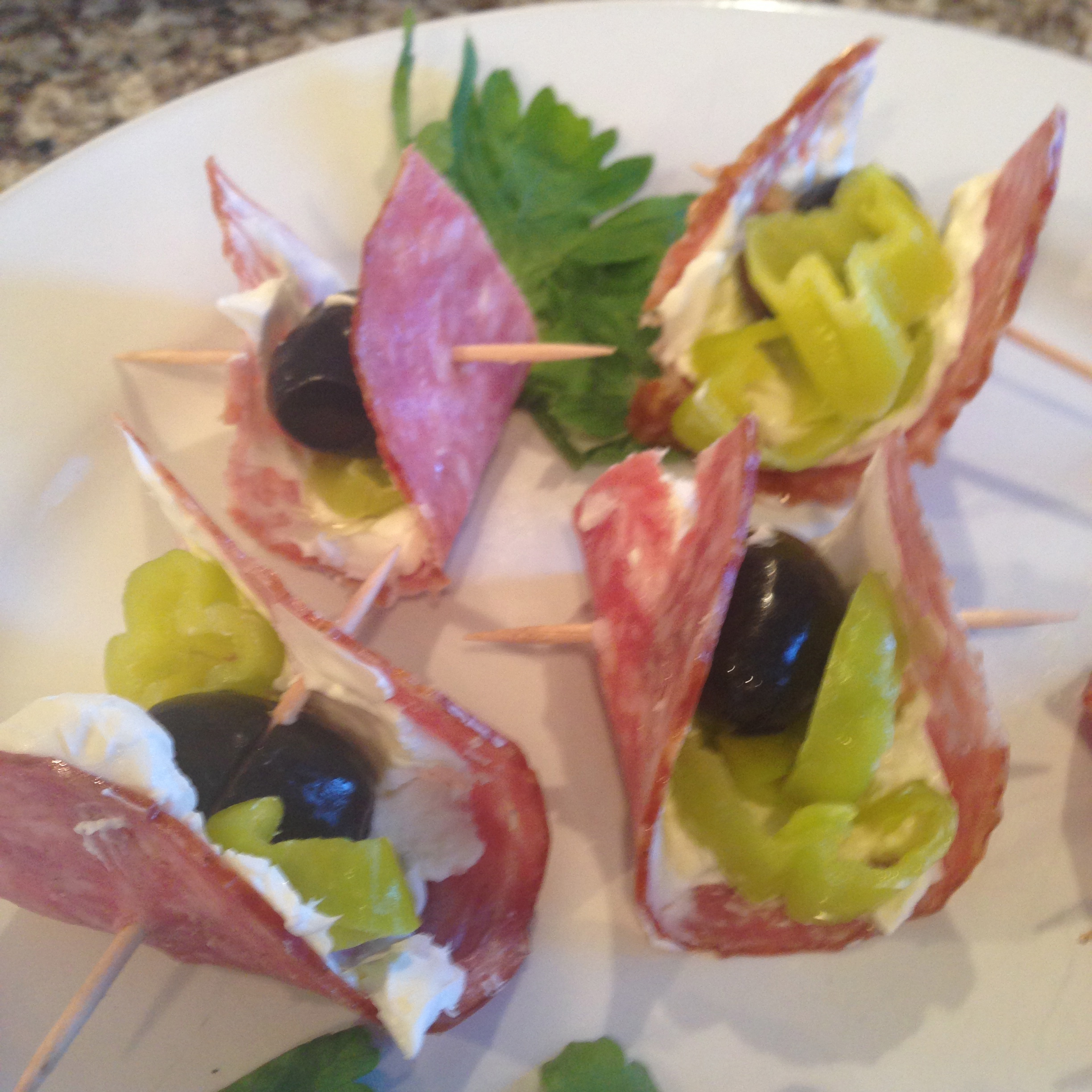 Salami and Cream Cheese Skewers