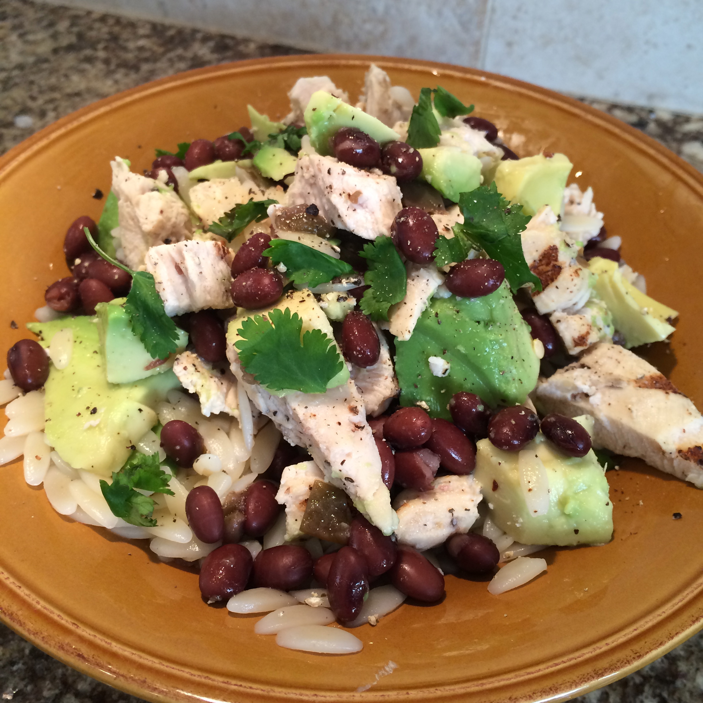 Orzo with Black Beans and Avocado Salad