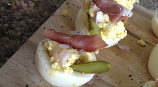 Deviled Eggs with Pickles, Procsuitto, and Shallots