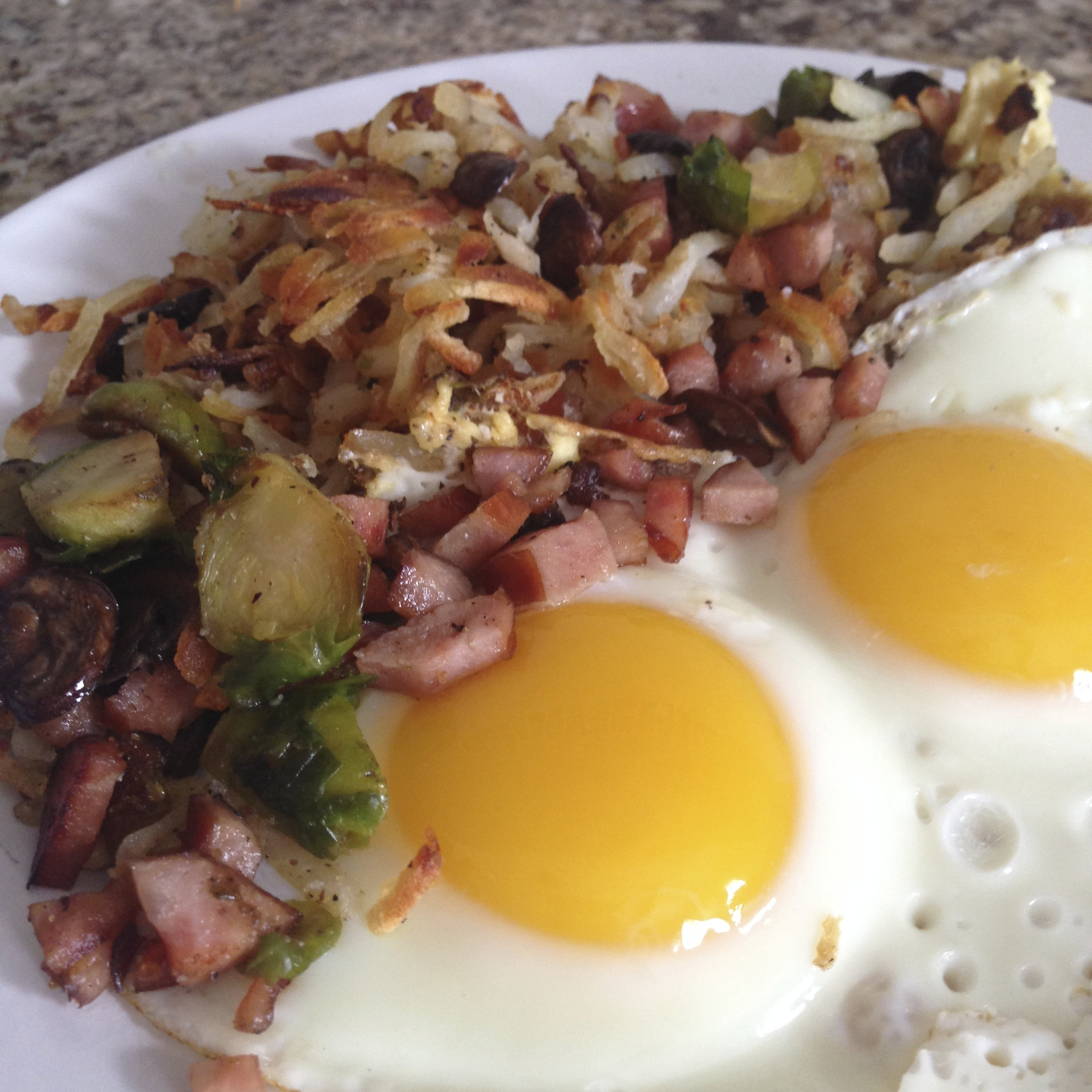 Ham and Brussel Sprout Hash Browns