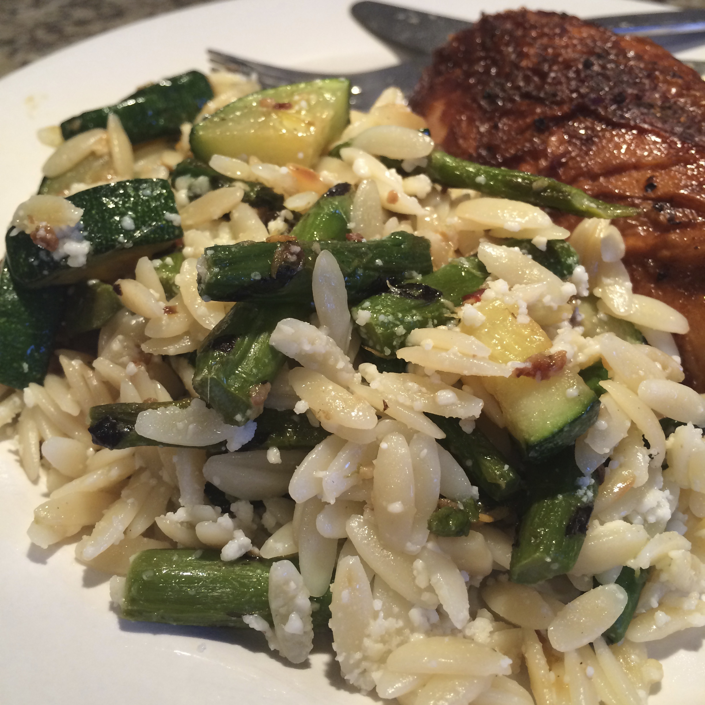 Zucchini and Asparagus Orzo