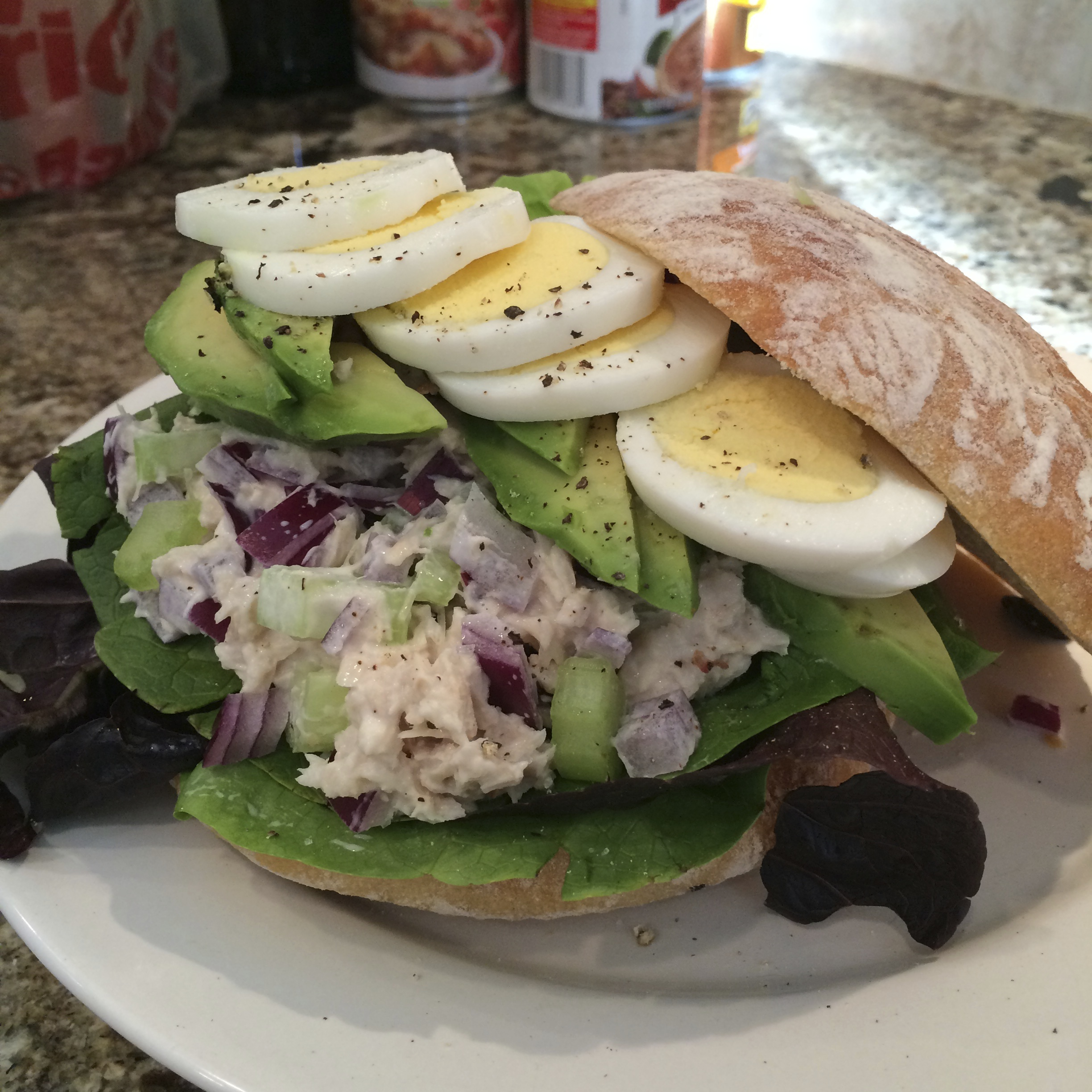 Tuna, Hard Boiled Egg, and Avocado Sandwich