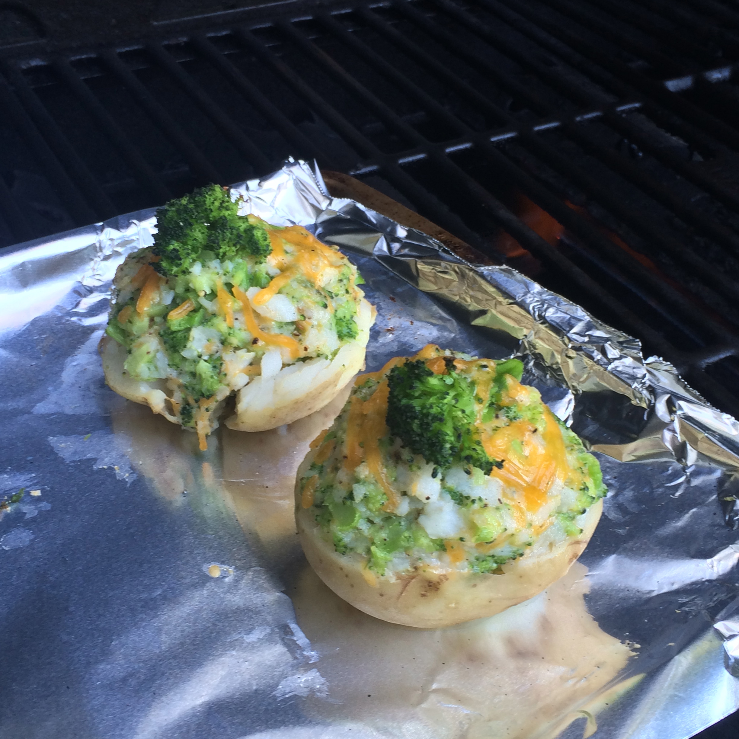 Broccoli and Cheese Stuffed Potatoes
