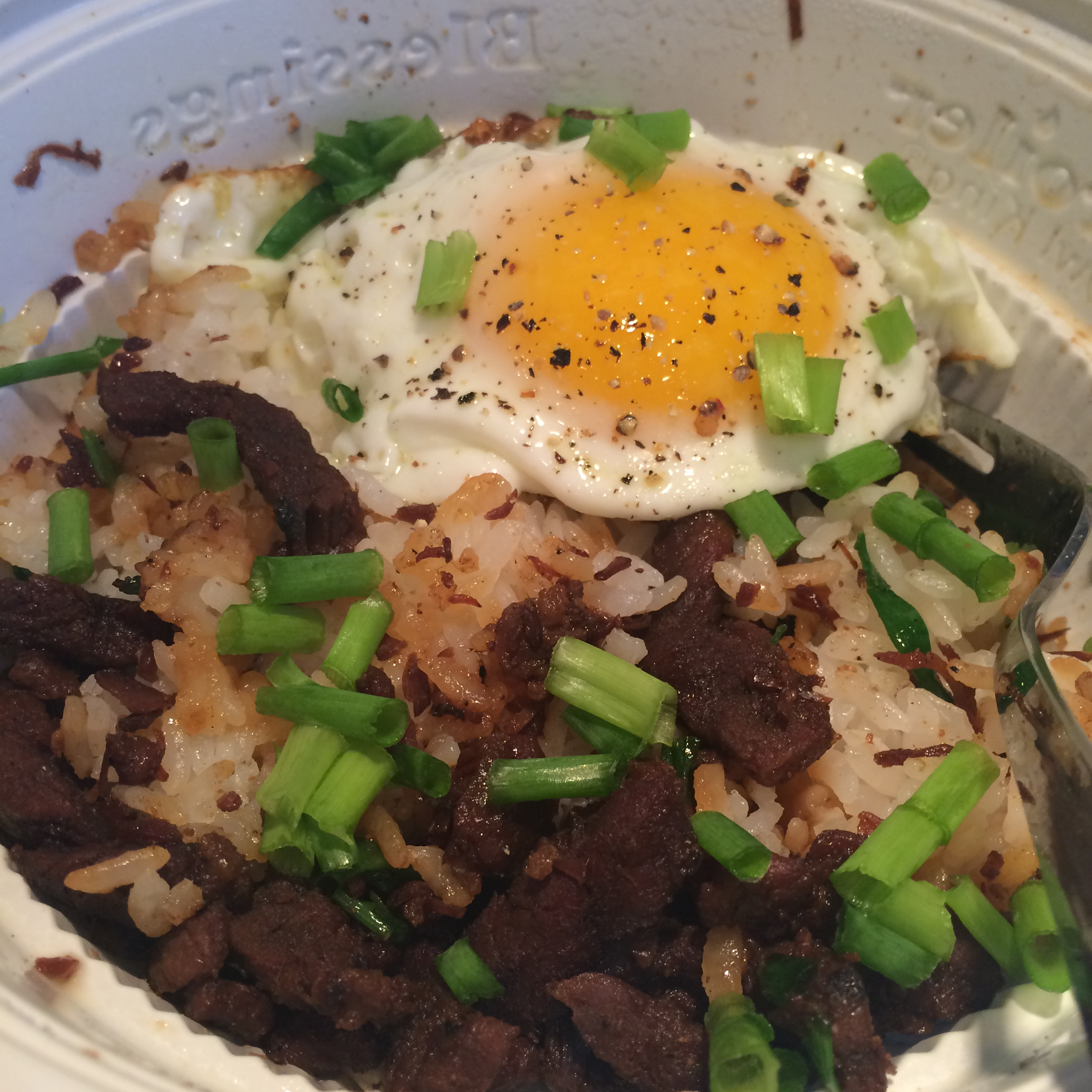 Beef and Rice Bowl with a Fried Egg