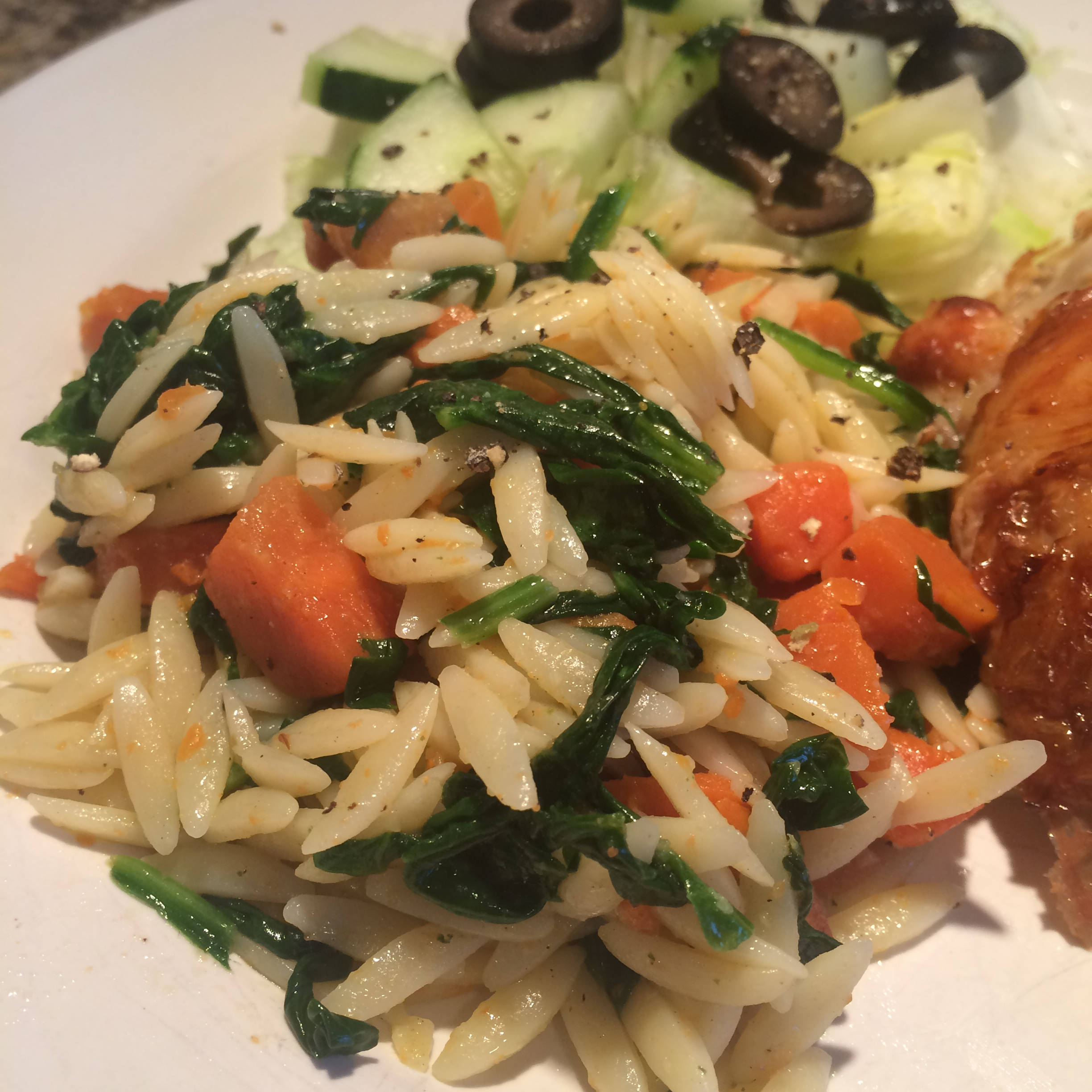 Orzo Pasta with Carrots and Spinach