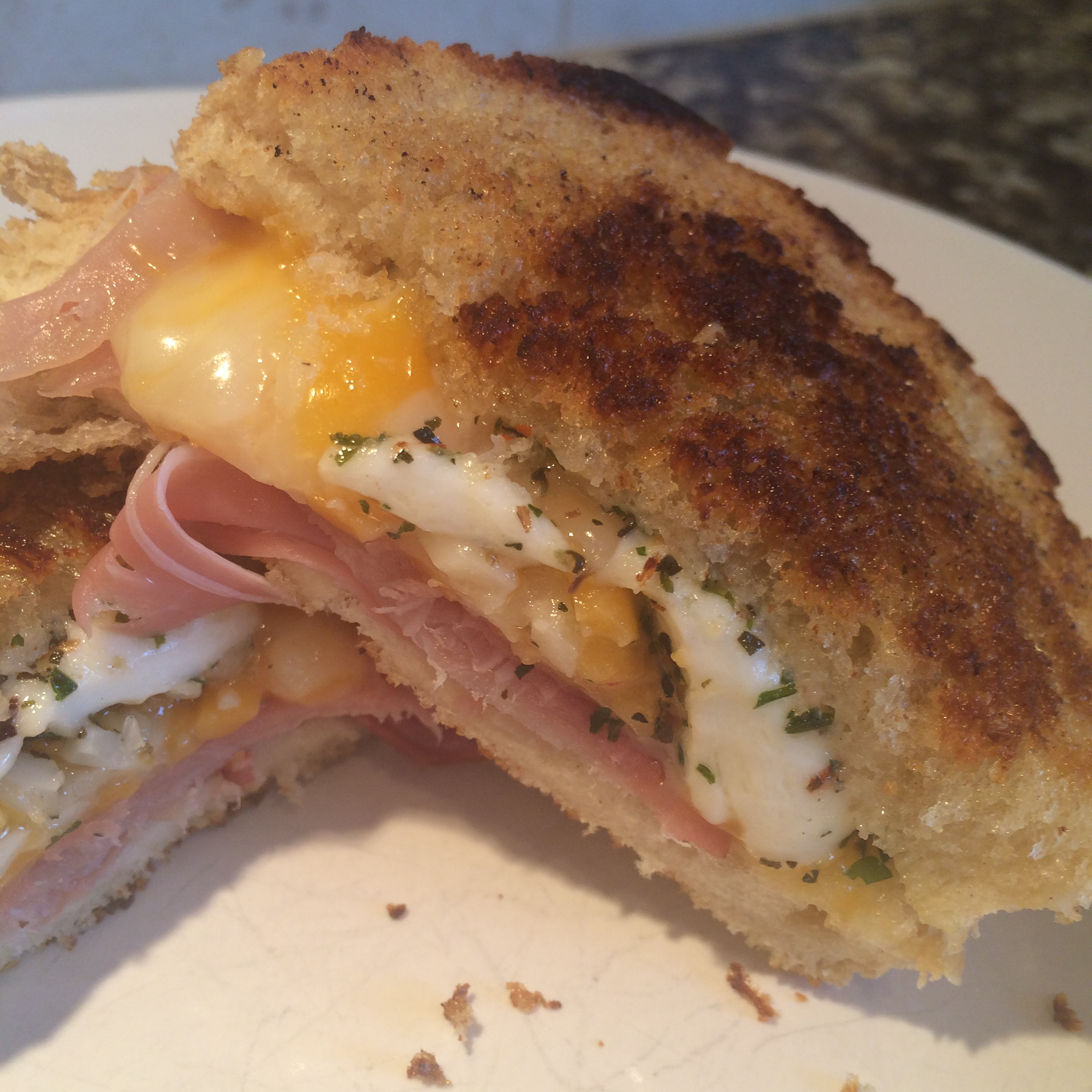 Proscuitto and Marinated Mozzarella Grilled Cheese