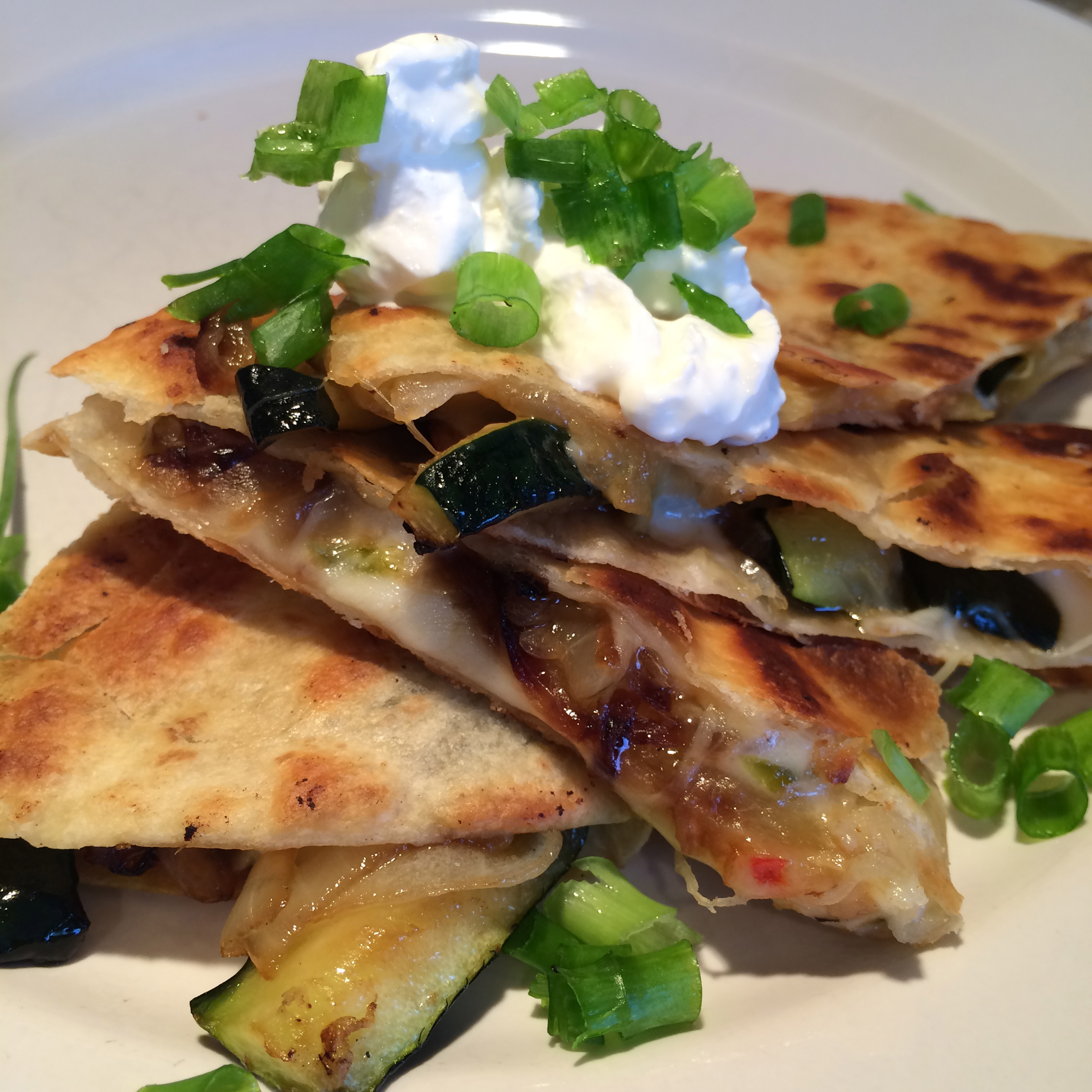 Zucchini and Grilled Onion Quesadilla