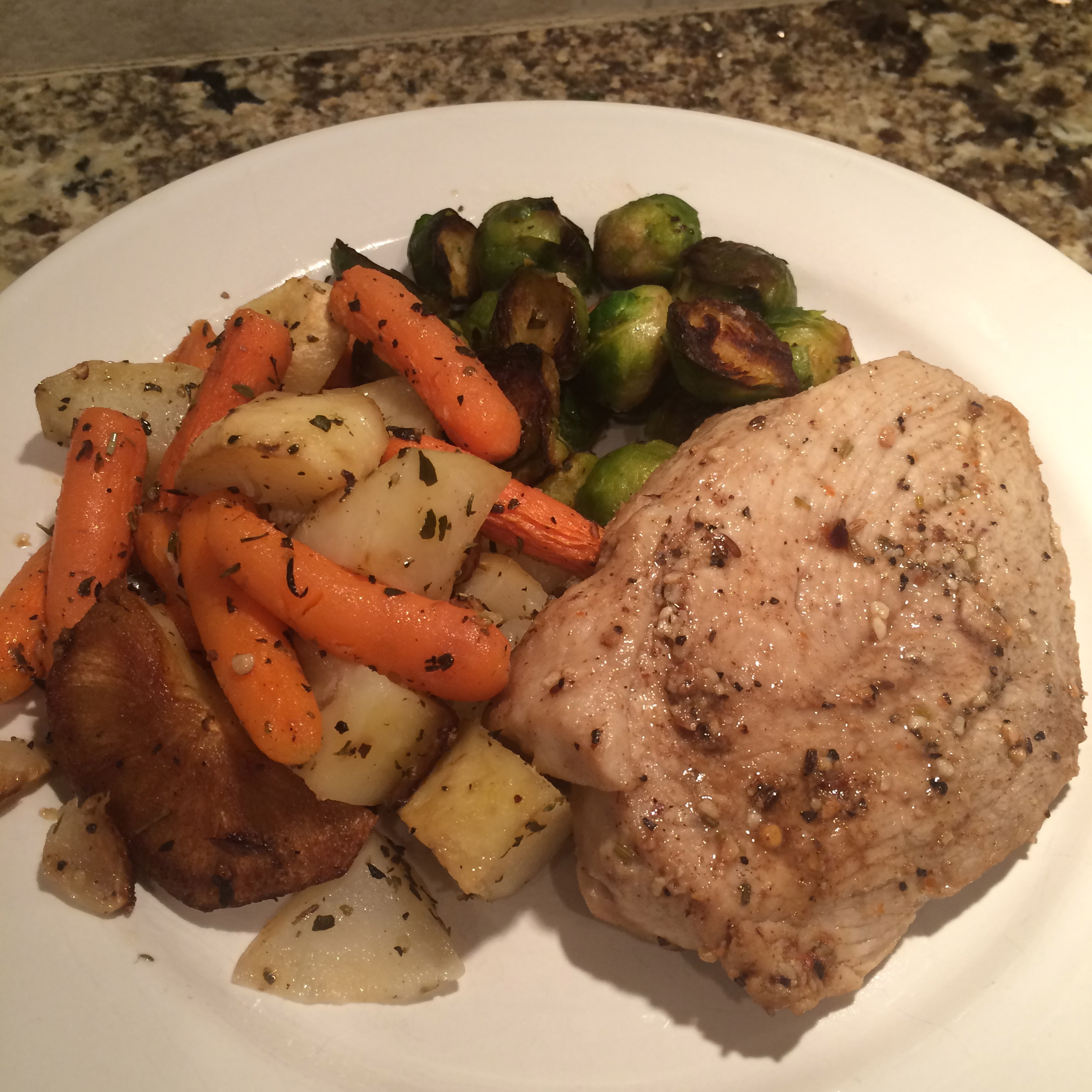 Pork Chops with Root Vegetables and Brussels Sprouts
